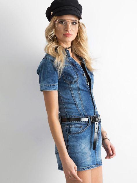 Niebieska jeansowa sukienka mini                              zdj.                              3