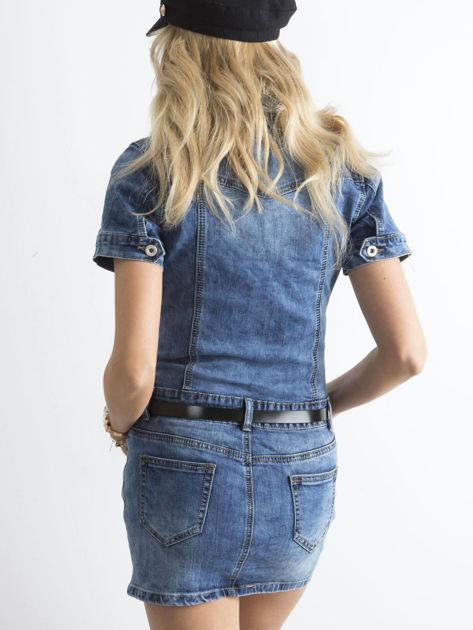 Niebieska jeansowa sukienka mini                              zdj.                              2