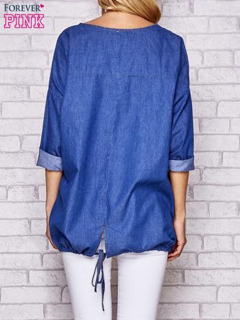 Niebieska jeansowa tunika ze sznureczkiem                                  zdj.                                  4