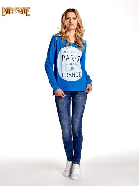 Niebieska klasyczna bluza damska z napisem AVENUE MONTAIGNE                                  zdj.                                  2