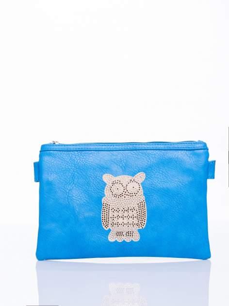 Niebieska kopertówka z dżetami motyw sowy                                  zdj.                                  2