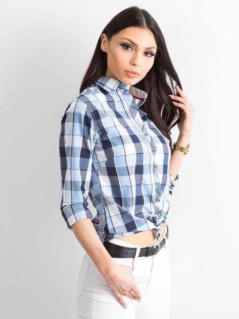 Niebieska koszula damska w kratę                              zdj.                              3