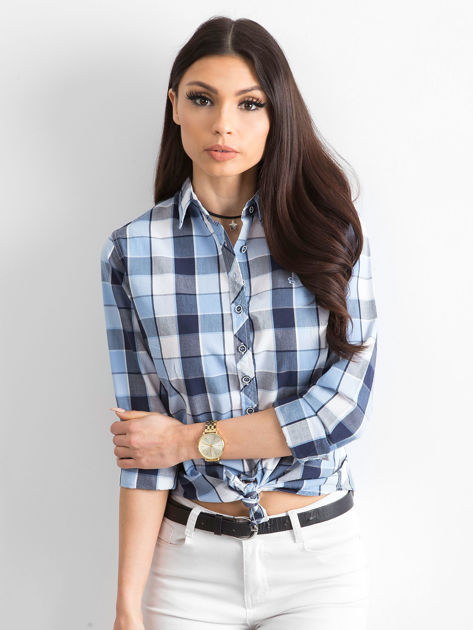 Niebieska koszula damska w kratę                              zdj.                              1