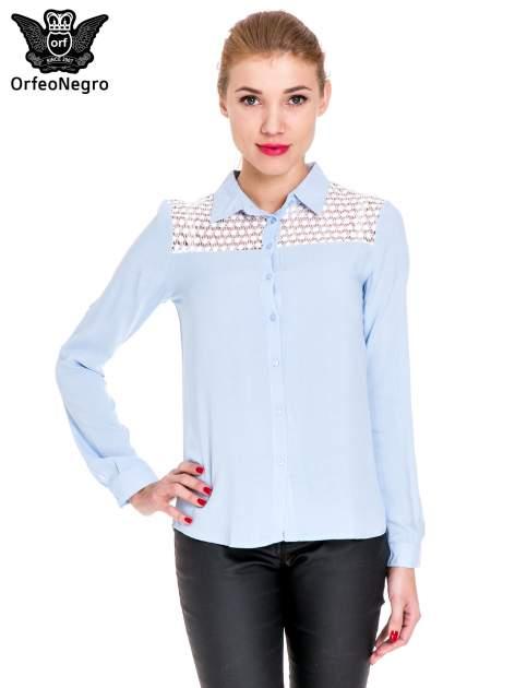 Niebieska koszula damska z koronkową górą