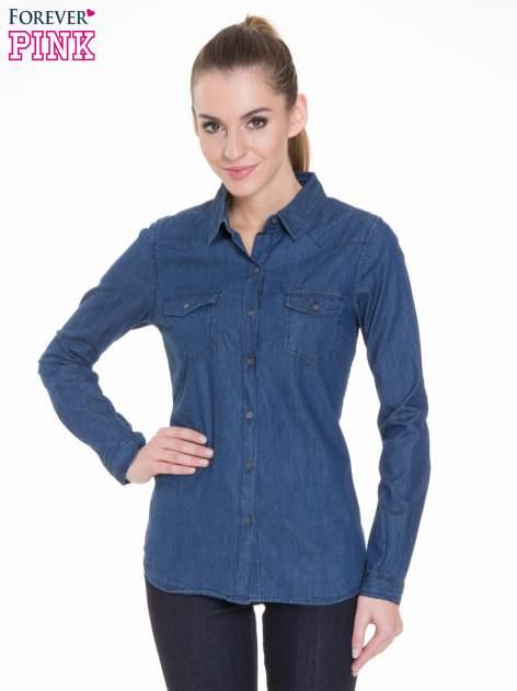 Niebieska koszula jeansowa z kieszeniami na guziki                                  zdj.                                  1