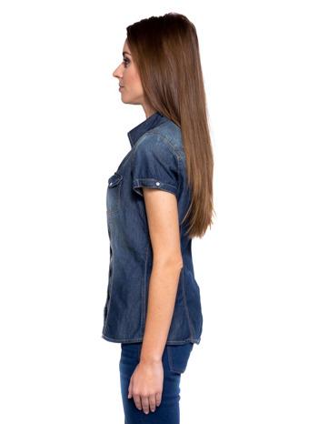 Niebieska koszula jeansowa z krótkim rękawem                                  zdj.                                  3