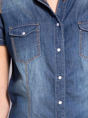 Niebieska koszula jeansowa z krótkim rękawem                                  zdj.                                  5