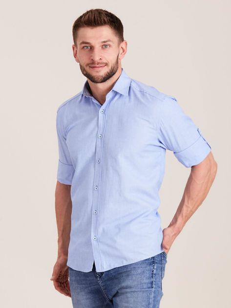 Niebieska koszula męska o regularnym kroju                              zdj.                              3