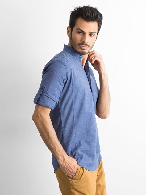 Niebieska koszula męska regular fit ze stójką                               zdj.                              3