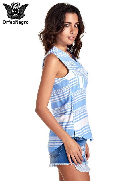Niebieska koszula w paski bez rękawów                                  zdj.                                  3