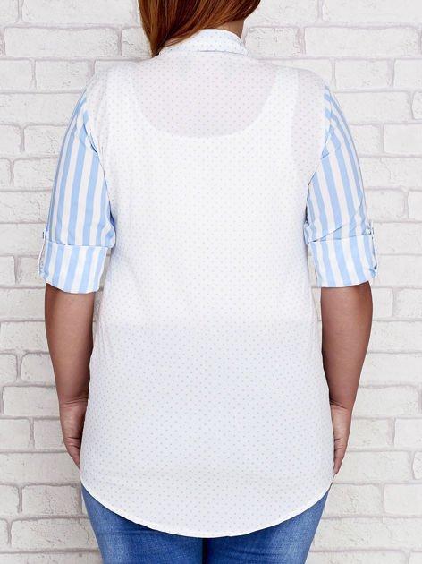 Niebieska koszula w paski i groszki PLUS SIZE
