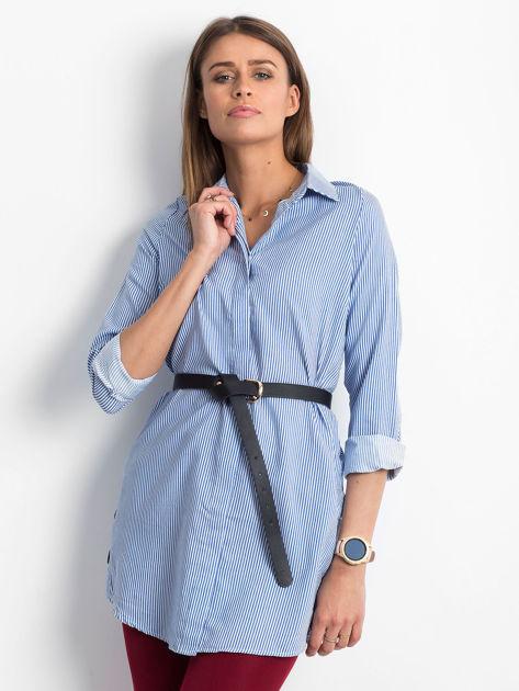 Niebieska koszula w paski z guzikami                               zdj.                              1