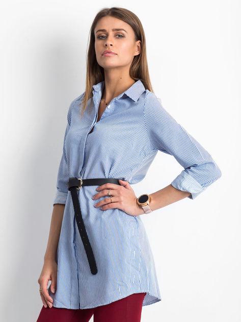 Niebieska koszula w paski z guzikami                               zdj.                              3