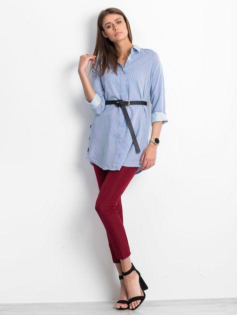 Niebieska koszula w paski z guzikami                               zdj.                              4