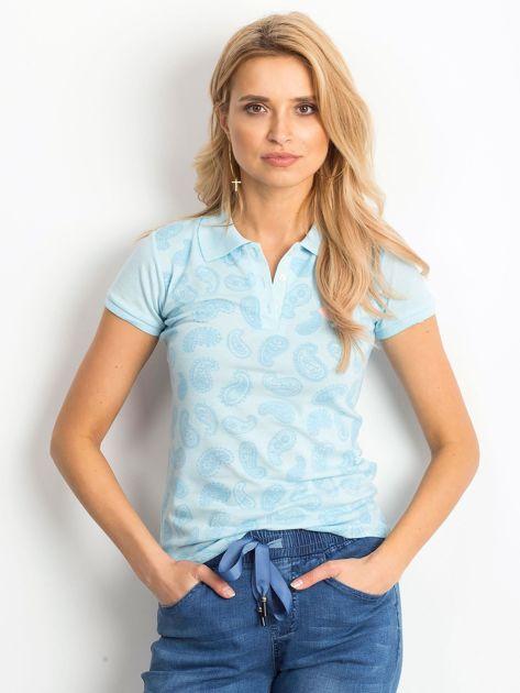 Niebieska koszulka polo z motywem paisley                              zdj.                              1