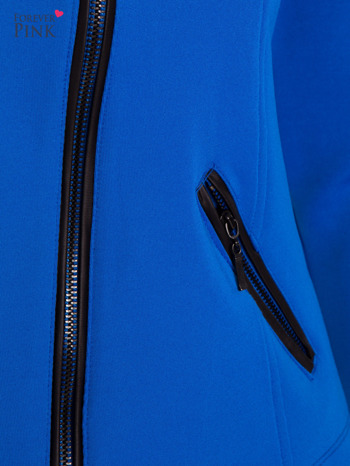 Niebieska kurtka biker ze skośnym suwakiem                                  zdj.                                  3