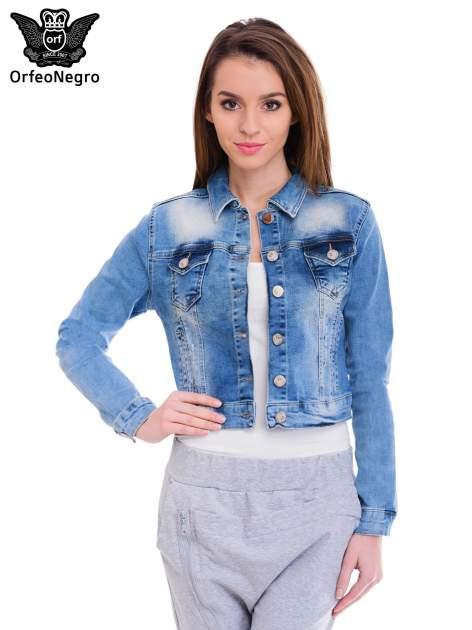 Niebieska kurtka jeansowa damska z cieniowaniem i przetarciami                                  zdj.                                  1