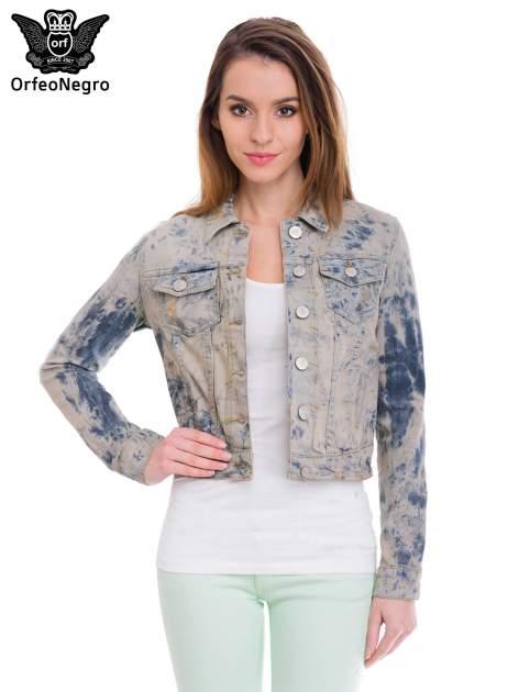 Niebieska kurtka jeansowa damska z efektem tie-dye