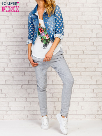 Niebieska kurtka jeansowa z koronką                                  zdj.                                  8