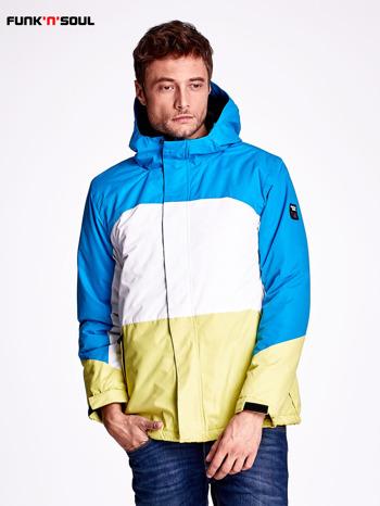 Niebieska kurtka męska z kolorowymi modułami FUNK N SOUL                              zdj.                              1