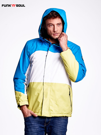 Niebieska kurtka męska z kolorowymi modułami FUNK N SOUL                              zdj.                              4