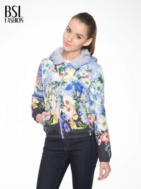 Niebieska kwiatowa kurtka bomber jacket z kapturem