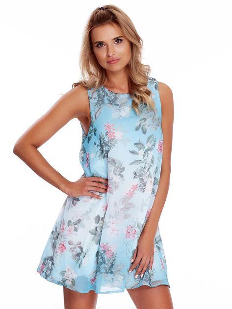 Niebieska kwiatowa sukienka                               zdj.                              1