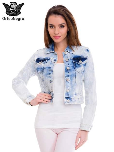 Niebieska marmurkowa kurtka jeansowa damska                                  zdj.                                  1
