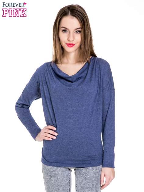 Niebieska melanżowa bawełniana bluzka z dekoltem typu woda