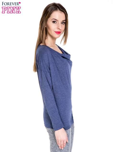 Niebieska melanżowa bawełniana bluzka z dekoltem typu woda                                  zdj.                                  3