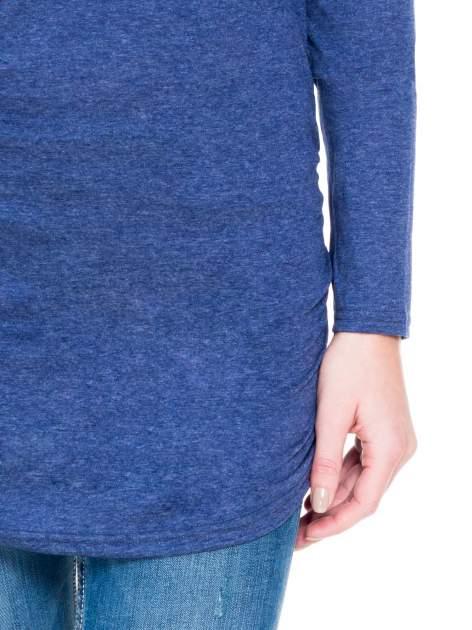 Niebieska melanżowa bluzka tunika z marszczonym dołem                                  zdj.                                  6