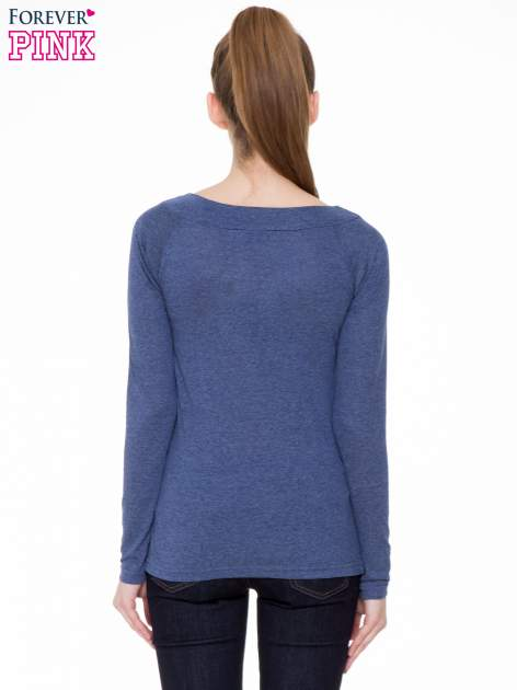 Niebieska melanżowa gładka bluzka z reglanowymi rękawami                                  zdj.                                  4