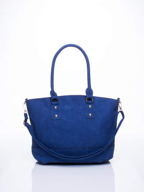 Niebieska miejska torba z czarną lamówką                                  zdj.                                  1