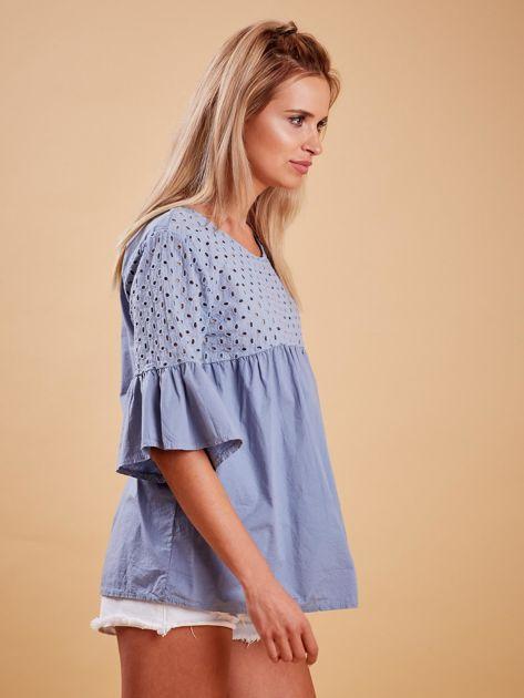 Niebieska odcinana bluzka z szerokimi rękawami                              zdj.                              3
