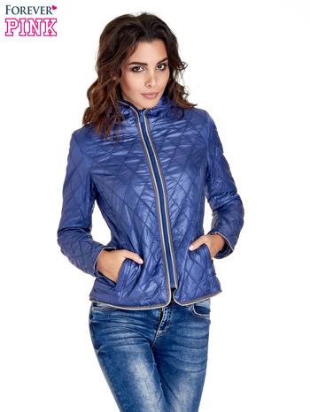 Niebieska pikowana kurtka typu husky                                  zdj.                                  1