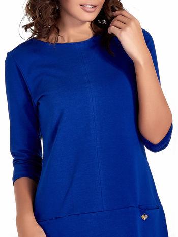 Niebieska prosta sukienka z kieszeniami                                   zdj.                                  5