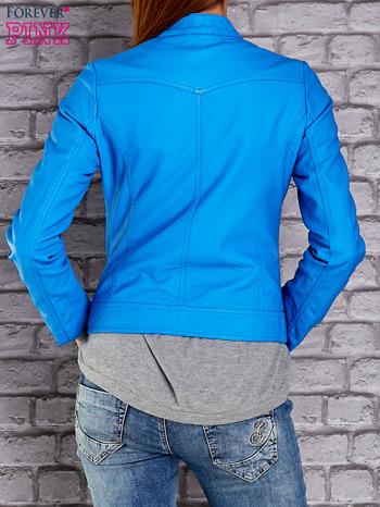 Niebieska skórzana kurtka o klasycznym kroju                                  zdj.                                  2