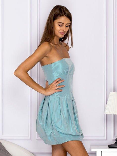 Niebieska sukienka bombka z połyskiem                              zdj.                              3