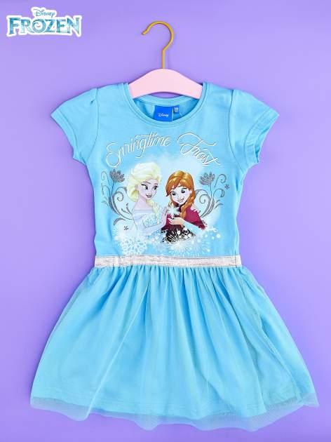 Niebieska sukienka dla dziewczynki z tiulowym wykończeniem FROZEN                                  zdj.                                  1