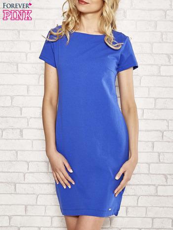 Niebieska sukienka dresowa o prostym kroju                                  zdj.                                  1