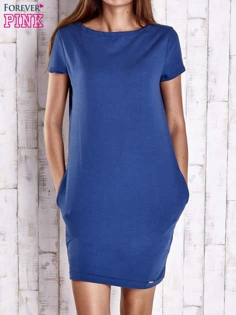 Niebieska sukienka dresowa z kieszeniami                                  zdj.                                  1