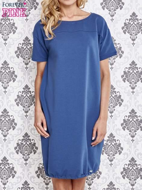 Niebieska sukienka dresowa ze ściągaczem na dole                                  zdj.                                  1