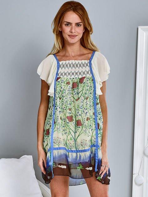 Niebieska sukienka letnia mgiełka w kwiaty                                  zdj.                                  1