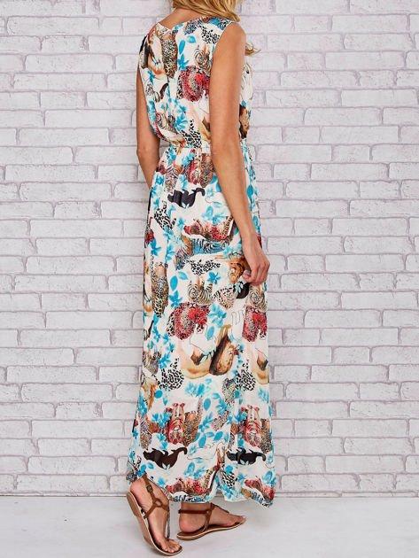 Niebieska sukienka maxi z motywem leopard print                                  zdj.                                  2