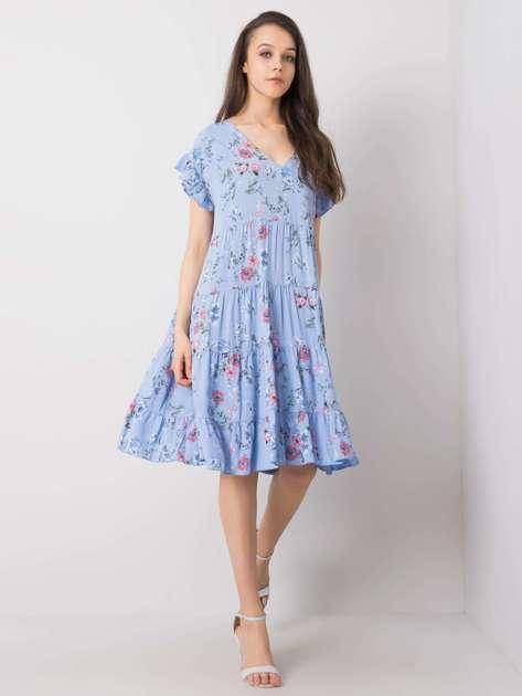 Niebieska sukienka w kwiaty Lucinda