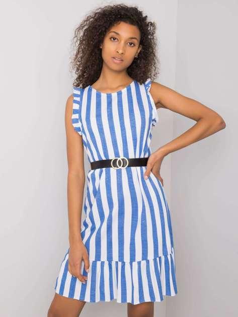 Niebieska sukienka w paski Maude