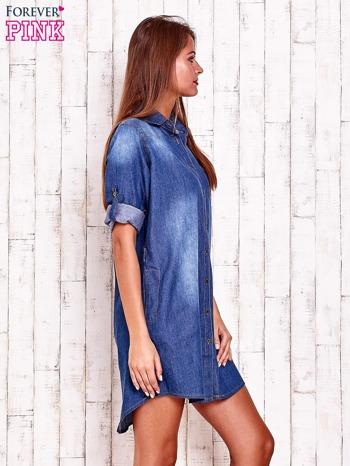 Niebieska sukienkokoszula z kieszeniami i podwijanymi rękawami                                  zdj.                                  3