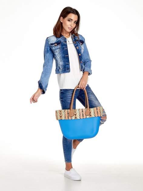 Niebieska torba gumowa z motywem azteckim                                  zdj.                                  2