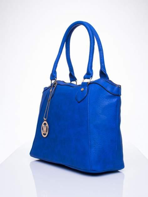Niebieska torba miejska ze złotą zaiweszką                                  zdj.                                  2