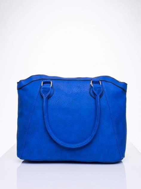 Niebieska torba miejska ze złotą zaiweszką                                  zdj.                                  3